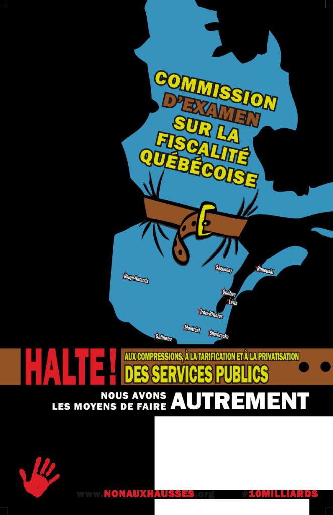 Affiche modifiable pour les mobilisations autour des consultations de la Commission d'examen de la fiscalité québécoise