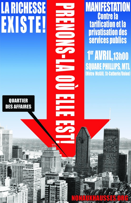 [ affiche: La richesse existe! - une flèche énorme indique un point dans une ville - Prenons-là où elle est! - une case indique le point: Quartier des affaires.]