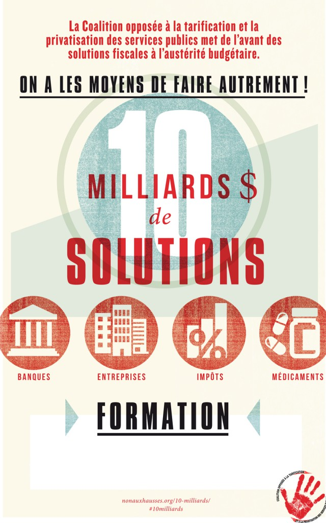 Affiche annonçant la formation de la campagne 10 milliards $ de solutions.
